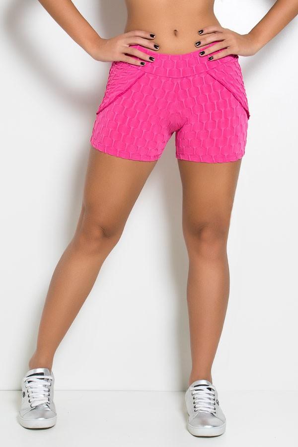 Short Saia Adriane Tecido Bolha (Rosa Pink)