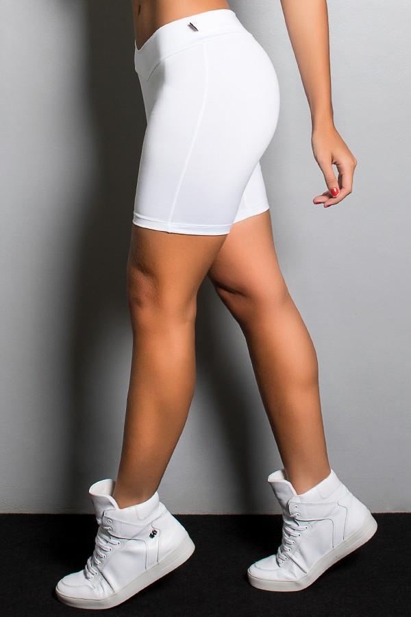 Bermuda Fitness confeccionada em suplex liso Cor Branco