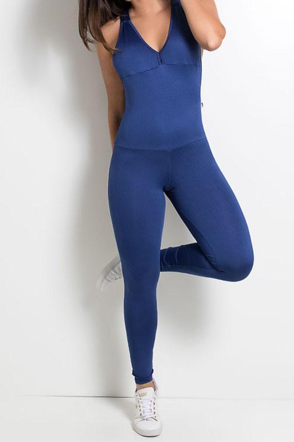 Macacão Fitness Bela Cores Lisas Azul Marinho