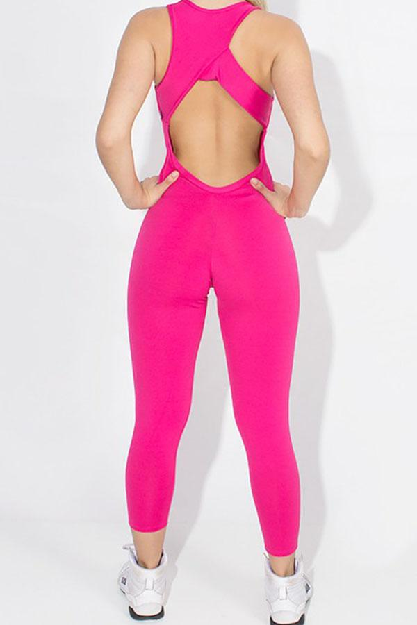 Macacão Viviane Liso Rosa Pink Confeccionado em Suplex